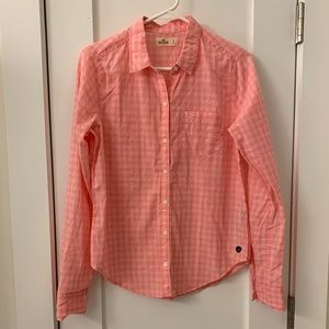 Hollister Pink Plaid button down size small